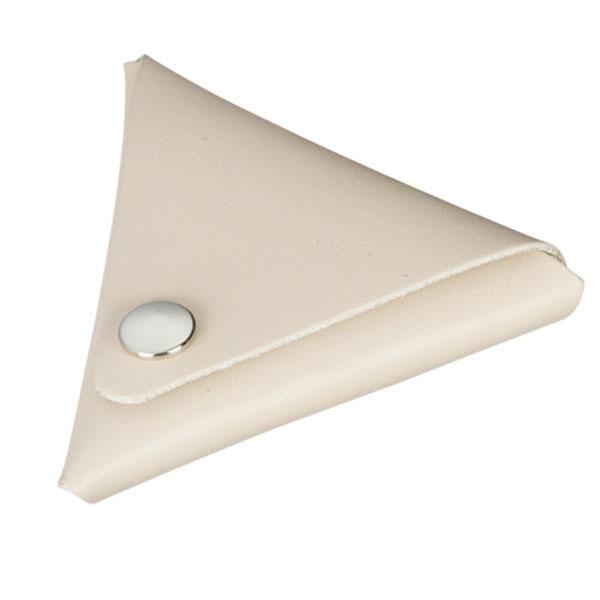 本革三角コインケース(グレージュ)