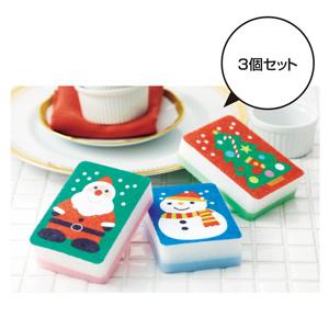 クリスマスキッチンスポンジ3P