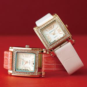 スクエアラインストーン腕時計(ピンク)