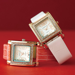 スクエアラインストーン腕時計(ホワイト)
