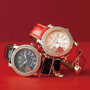 ハートチャーム付き腕時計(ブラック)