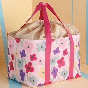 プルーン・ショッピングクールバッグ(くきとお花・ピンク)