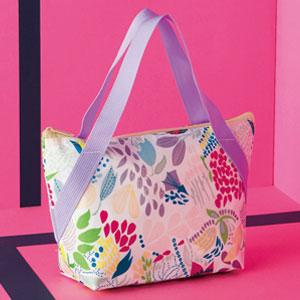 プルーン・ランチクールバッグ(くきとお花・ピンク)