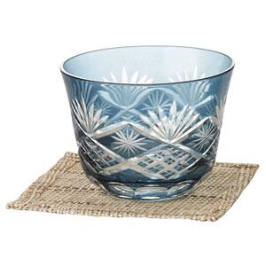 涼香・切子冷茶グラス(コースター付き)(藍)