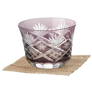 涼香・切子冷茶グラス(コースター付き)(浅紫)
