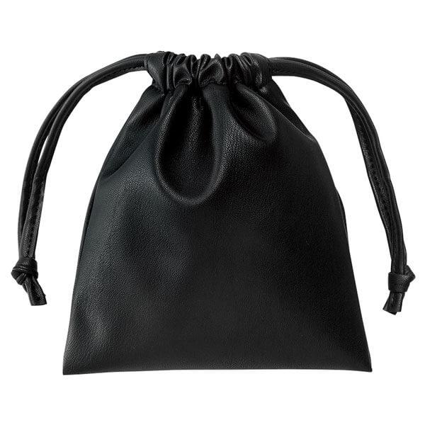 レザータッチ巾着(ブラック)