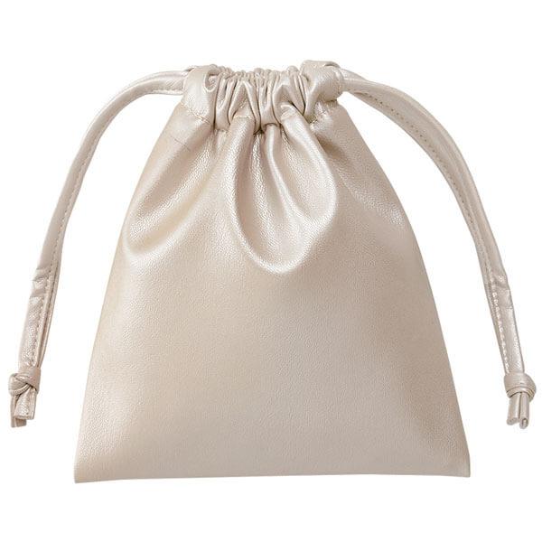レザータッチ巾着(シャンパンホワイト)