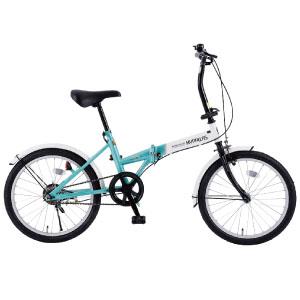 20インチ折畳自転車 ホワイト×ミント