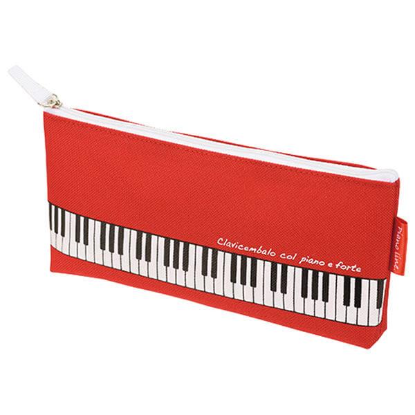 ピアノライン マチ付きペンケース(レッド)