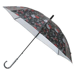 晴雨兼用バラ柄シルバーコート長傘