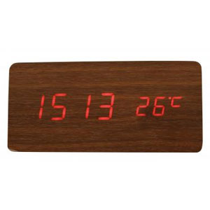 Qi(チー)専用ワイヤレス充電機能付き時計(ブラウン)